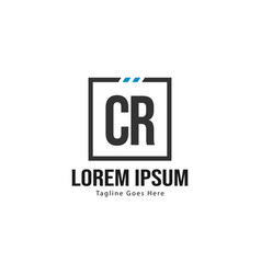 Initial cr logo template with modern frame vector