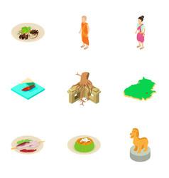 Island life icons set isometric style vector
