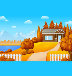 landscape mountains with house near the lake vector image