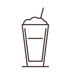 Latte coffee glass isolated linear icon vector