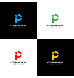 letter p and i logo icon sign design vector image