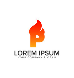 Letter p ignition flame logo design concept vector