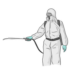 Man in a full body protective suit cleaning vector