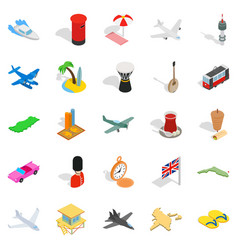 Memorable place icons set isometric style vector