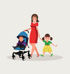 mother with daughter and baby vector image