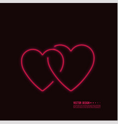 neon glowing heart vector image