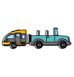 Off road sport truck with caravan trailer vector