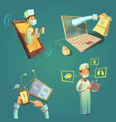 online doctor cartoon set vector image