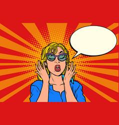 oops pop art surprised woman vector image