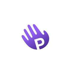 p letter hand palm hello logo icon vector image