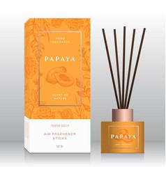 Papaya home fragrance sticks abstract label vector