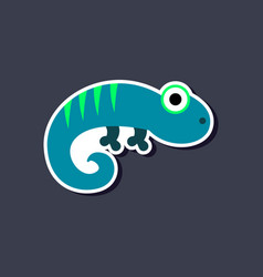 Paper sticker on stylish background lizard reptile vector