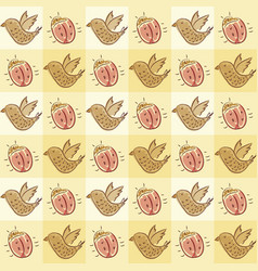 Pattern with beetle and bird vector