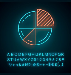 Pie chart neon light icon circle divided vector