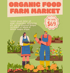 Poster organic food at farm market vector