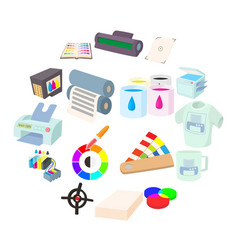 printing icons set in cartoon style vector image