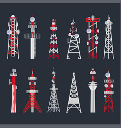 Radio tower set media and information technology vector