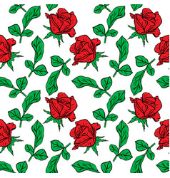 Red rose bud and branch with green leaves vector