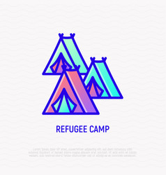 refugee camp tents thin line icon vector image
