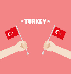 republic day of turkey with hands holding up vector image