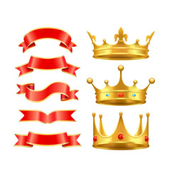 Ribbons and crowns icons set vector