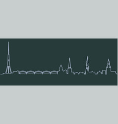 riga single line skyline vector image