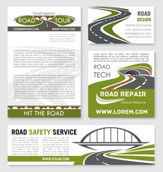 Road and highway banner template design vector