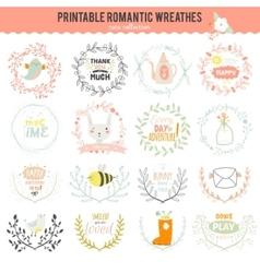 Romantic hand drawn collection laurels wreaths vector