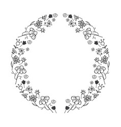 round flower frame hand drawn sketch doodles vector image