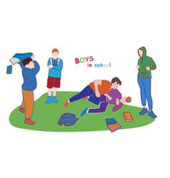 School boys behavior vector