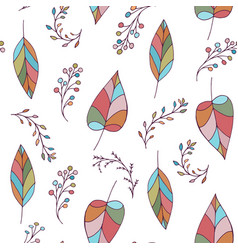 seamless doodle pattern with leaves and berries vector image