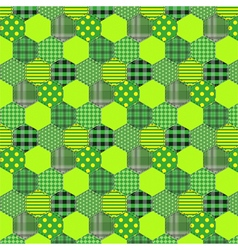 Seamless pattern patchwork green fabrics hexagon vector