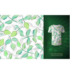 Seamless pattern with green watercolor leaves vector