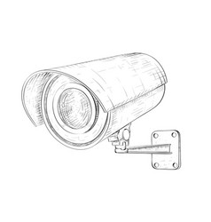security cctv camera hand drawn sketch vector image