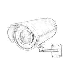 Security cctv camera hand drawn sketch vector