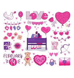 set for valentines day a loving couple embraces vector image