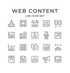 Set line icons web content vector