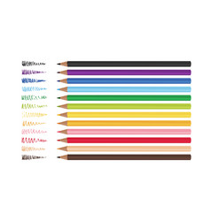 Set of 12 realistic colored pencils isolated vector