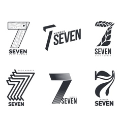 Set of black and white number seven logo templates vector image