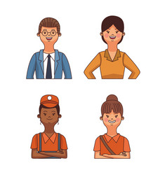 Set of workers cartoons vector