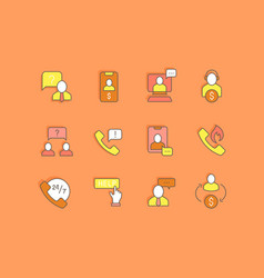 set simple line icons business consulting vector image