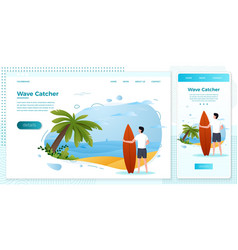 set - surfing man on a beach vector image