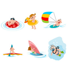 Six children on the water vector