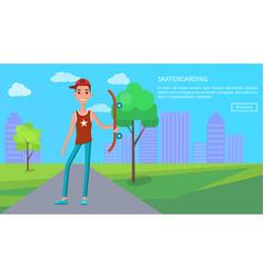 skateboarding online poster young skateboarder web vector image