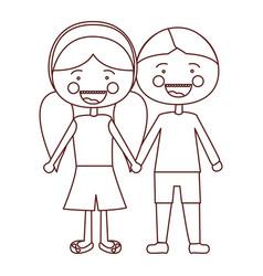 Sketch contour smile expression cartoon boy hair vector
