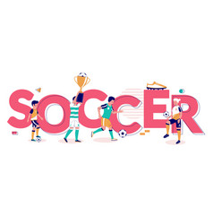 soccer typography banner template flat vector image