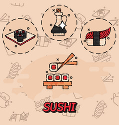 sushi flat concept icons vector image