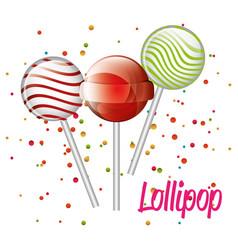 three lollipop graphic vector image