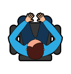top view man sitting cartoon vector image