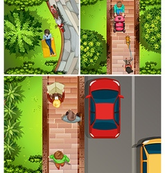 Top view scenes with people in the park and street vector